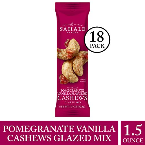 Sahale Snacks Pomegranate Vanilla Flavored Cashews Glazed Mix, 1.5 oz., Pack of 18 - Nut Snacks in a Convenient Grab 'n Go Pack, No Artificial Flavors, Preservatives or Colors, Gluten-Free Snacks