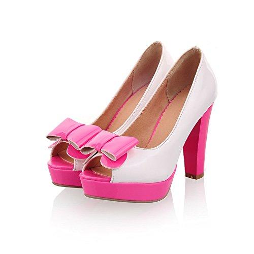 BalaMasa da donna Open toe in tessuto colori assortiti high-heels pumps-shoes, Rosso (Red), 35