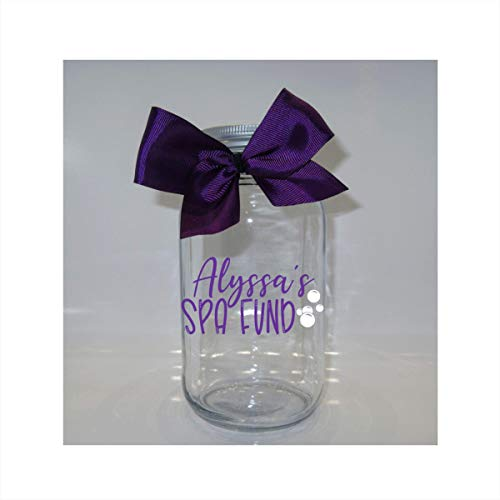 Personalized Spa Fund Fund Mason Jar Bank - Coin Slot Lid - Available in 3 Sizes