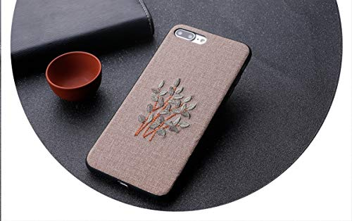 (3D Handmade Embroidery Case for iPhone PC+TPU Rose Flower Phone Cover for iPhone,Beige2,for iPhone8 Plus)