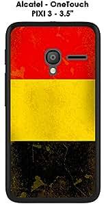 "Carcasa Alcatel OneTouch Pixi 3-3.5""Design bandera Bélgica Vintage"
