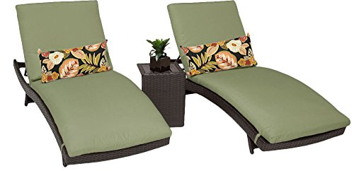 TK Classics Bali Chaise Outdoor Wicker Patio Furniture with Side Table, Set of 2, Cilantro Wicker Bali Chaise