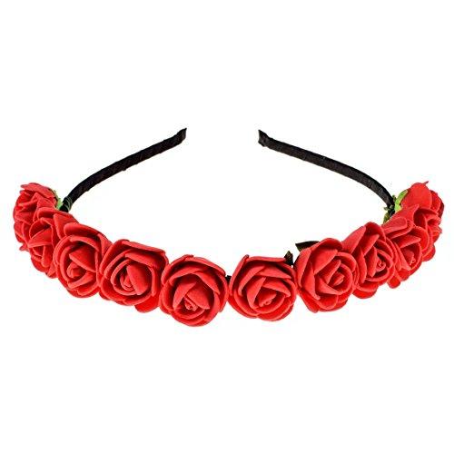 (Love Sweety Boho Floral Crown Rose Flower Headband Hair Wreath (Red))