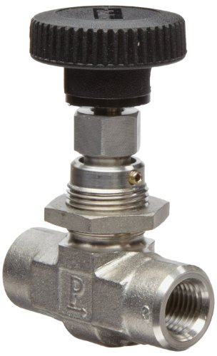 Parker NP6 Series Stainless Steel 316 Needle Valve, Inline, Hand Wheel, PCTFE Tipped Stem, 1/4