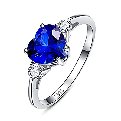 BONLAVIE Women's Created Blue Sapphire 925 Sterling Silver Anniversary Valentine Heart Promise Ring save more