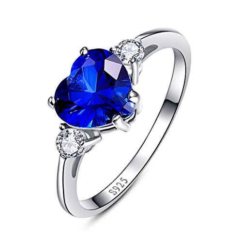 Ring Cut Promise (BONLAVIE Women's 925 Sterling Silver Heart Shaped Cubic Zirconia Sapphire Birthstone Ring Size 6)