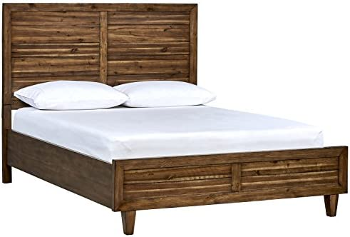 Stone Beam Bateman Casual Rustic Wood Platform Bed Frame with Tall Headboard, Queen, 65 W, Brown