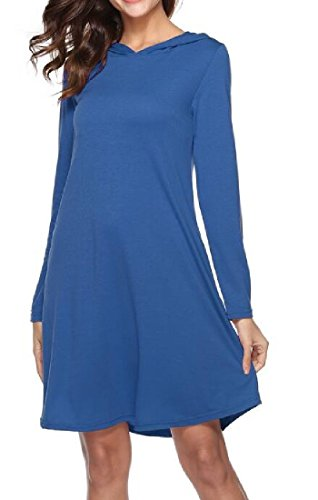 Color With Pure Hood Dress Long Short Waist Comfy S Women's Sleeve Blue qTwOII
