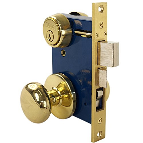 Em-D-Kay 5122 Polished Bras US3 Ornamental Iron Gate Door Double Cylinder Mortise Lock Set With 2-1/2
