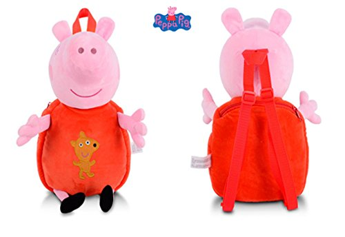 Price comparison product image Peppa Pig Backpack Plush Toy Children's bag, kids Backpack(Gorge:Blue&Peppa:Red) (Red)