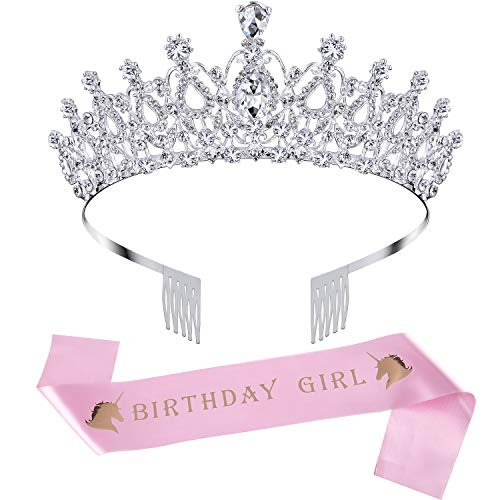 Birthday Crown Rhinestone Crystal Decoration Headband Prom Queen Crown with Birthday Girl Sash, Silver (Pink)