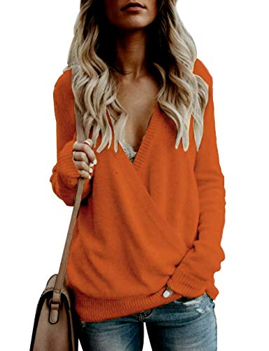 Knitted Jumper Dress - softome Womens Knitted Deep V-Neck Long Sleeve Wrap Front Loose Sweater Pullover Jumper Tops