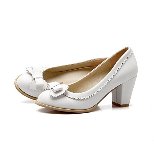 Amoonyfashion Mujeres High-heels Solid Pull-on Soft Material Round Closed Toe Bombas-zapatos Blanco