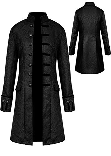 Mens Vintage Tailcoat Jacket Goth Long Steampunk Formal Gothic Victorian Frock Coat Costume for Halloween (Black, XL)]()