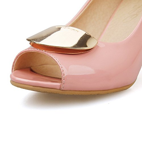 AllhqFashion Womens High Heels Patent Leather Solid Pull On Peep Toe Sandals Pink emK3y