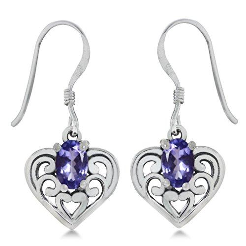 Genuine Tanzanite 925 Sterling Silver Southwest Style Filigree Heart Dangle Earrings