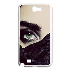 Naza Eye Samsung Galaxy Note 2 Case Hide Green Eyes Protective Cute for Girls, Samsung Galaxy Note2 Case 7100 Protective Cute for Girls [White]