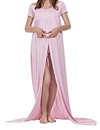 Elegant Maternity Cotton Gown Split Front Maxi Photography Dress for Photo Shoot