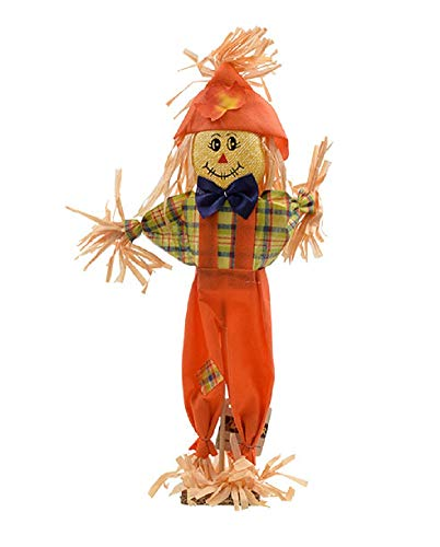 A&T Designs 15 in. Classic Scarecrow - Standing Decoration for Table Top, Mantel, Shelf, Entryway (Halloween Thanksgiving Fall Autumn Harvest Welcome) (Orange Overalls, Plaid Shirt) ()