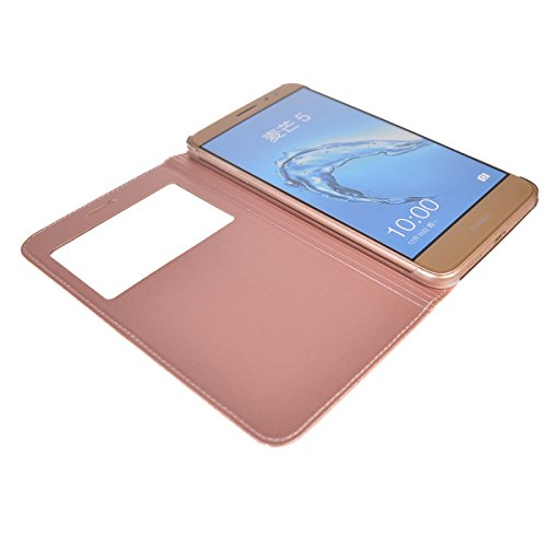 Huawei Nova Plus Funda,COOLKE Diseño de ventana Flip Funda Con Soporte Plegable Carcasa Funda Tapa Case Cover para Huawei Nova Plus - Negro Rose Oro