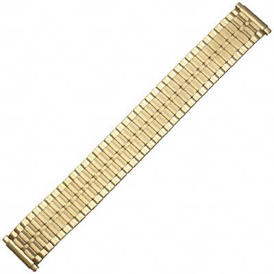 Speidel Men's Stainless Steel Comfortable Stretch Watch Band Gold Tone Replacement Strap, 16-22mm, Straight End with No Clasp, Extra Long