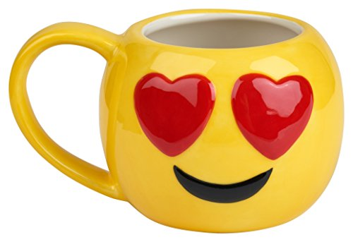 Emoji Coffee Cups-Free KCup of Gourmet Coffee-12 oz Emoji Coffee Mugs Great for Hot Cocoa, Soup or as a Candy Jar-Totally Unique Gift Idea (Heart Eyes)