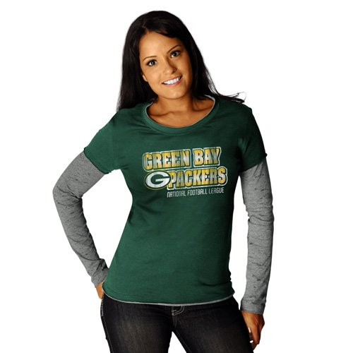 UPC 821382327314, NFL Womens Green Bay Packers Challenge Met Two-Fer Long Sleeve Two-Fer Crew Neck Tee (Dark Green/Athletic Gray Haze, Large)