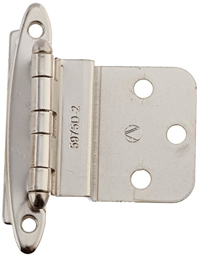 3/8in (10 mm) Inset Non Self-Closing, Face Mount Polished Chrome Hinge - 2 Pack