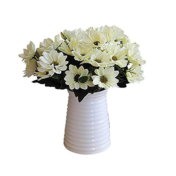 MARJON FlowersA Bunch of Man Mad Bridal Daisy Flowers Fake Silk Bouquet Home Party Decor Props Artificial(White) Bouquet Length 30cm per Flower