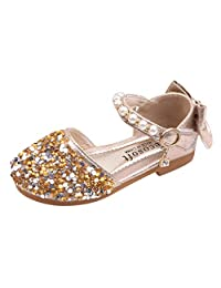 Toddler Kids Baby Girls Mary Jane Shoes Pearls Bling Bowknot Princess Crystal Sandals Party Wedding Leather Shoes