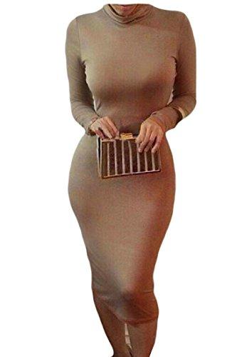 Confortables Femmes Solide Bandage Club Sexy À Manches Longues Mince Café Raccord Robe Moulante