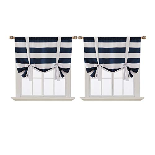 Deconovo Navy Blue Striped Blackout Curtains Rod Pocket Nautical Navy and Greyish White Striped Curtains Tie Up Curtain for Kids Room 46W X 63L Navy Blue 2 Panels