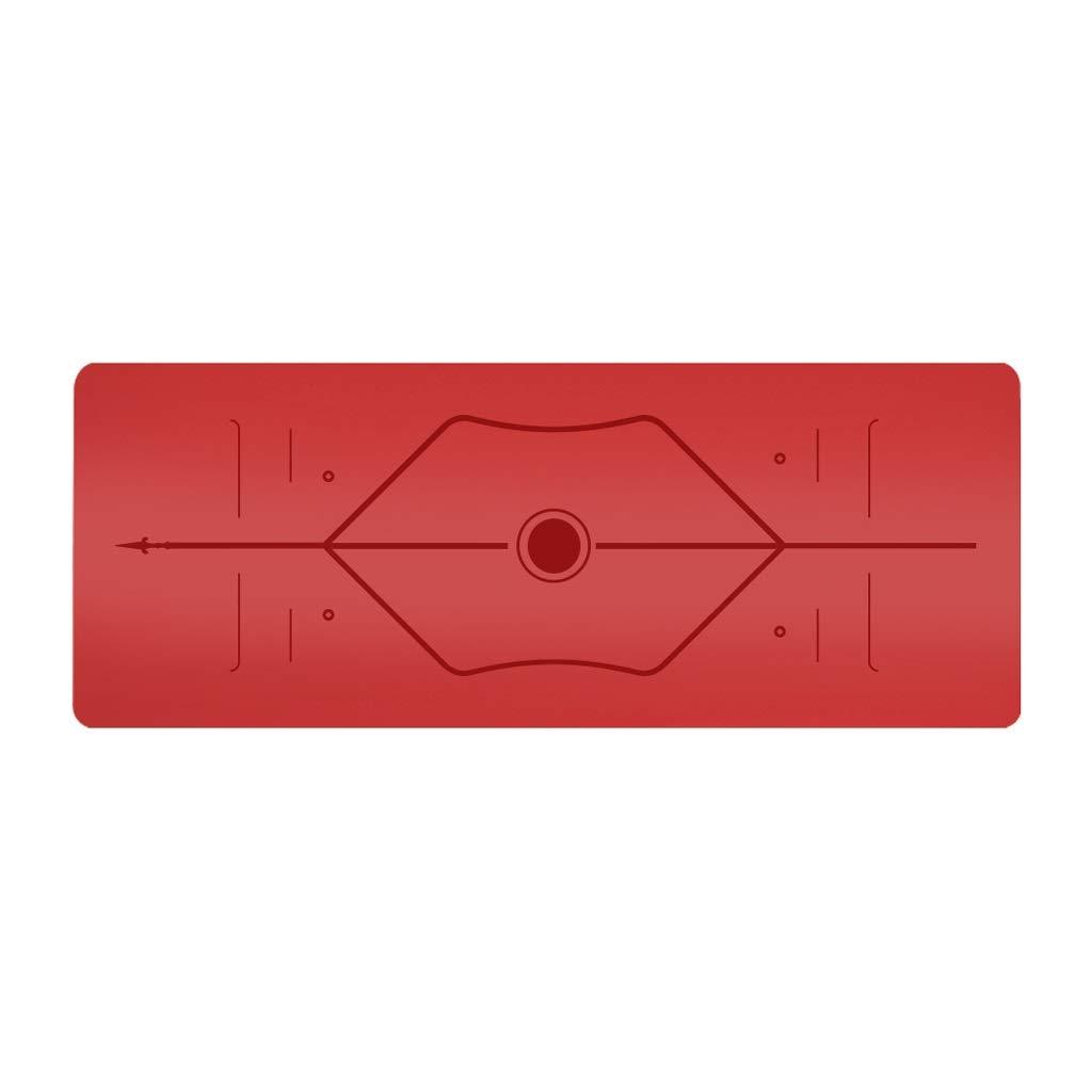 オプションの天然PUラバーヨガマットアンチスキッドスポーツフィットネスマット5 mmマルチカラー B07P2XJSG9 RedB RedB