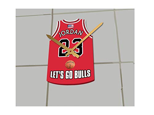 Basketball Jersey ONLY Clocks - N B A Color Themed Clock - Eastern Conference - Let's GO Editions !! (Let's Go Bulls Edition) (Jordan Wall Clock)