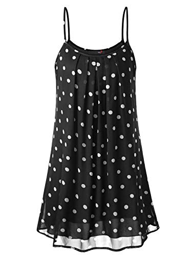 DJT Summer Dresses for Women, Women's Casual Summer Hawaiian Dresses for Women Sleeveless Beach Slip Sun Dress Black Polka Dots M