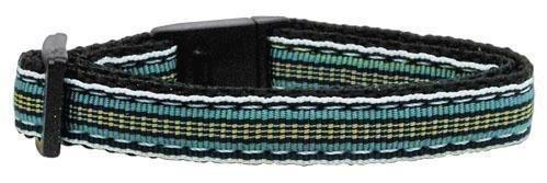 Preppy Stripes Nylon Ribbon Collars Light Blue/Khaki Cat Safety Case Pack 24 ...