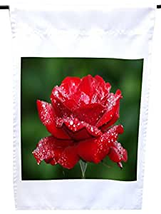 Rikki Knight Red Rose with Water Droplets on Green House or Garden Flag, 12 x 18-Inch Flag Size with 11 x 11-Inch Image