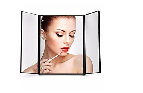 Makeup Mirror , besky Premium Tri-Fold Led Lighted Pocket Vanity Mirrors with Adjustable Stand