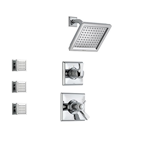 Delta Dryden Chrome Shower System with Thermostatic Shower Handle, 3-setting Diverter, Modern Square Showerhead, and 3 Body Sprays SS17T5181 Delta Faucets