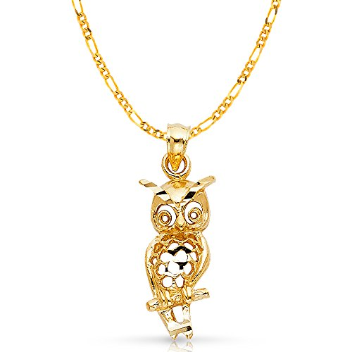 14k Owl Gold Yellow (14K Yellow Gold Owl Charm Pendant with 2.3mm Figaro 3+1 Chain Necklace - 22
