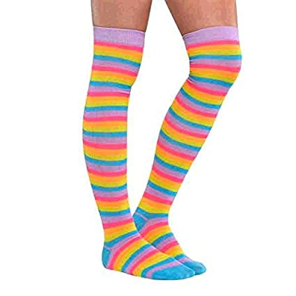 eb96832d74b Amazon.com  Amscan Neon Above The Knee Rainbow Striped Socks  Toys   Games