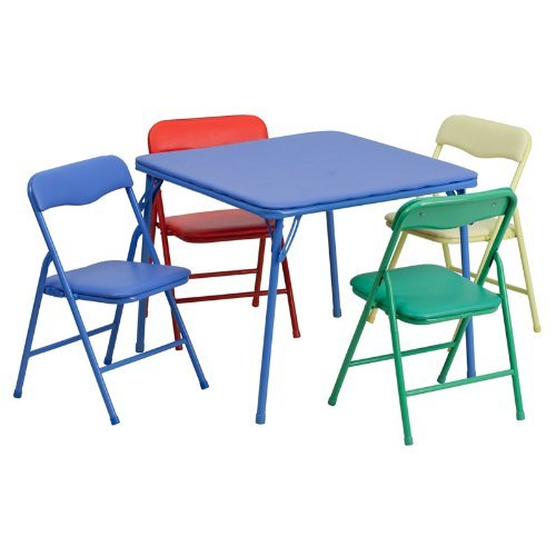 Flash Furniture Kids Colorful 5 Piece Folding Table and Chair Set (Renewed) ()