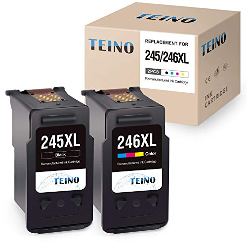 TEINO Re-Manufactured Ink Cartridge Replacement for Canon 245XL 246XL PG-245XL CL-246XL PG-243 Use with Canon PIXMA MG2520 MG2920 MG2922 MG2420 MG2522 TS3120 MG3022 MX490 MX492 (1 Black, 1 Tri-Color) (Canon Ink Cl246)