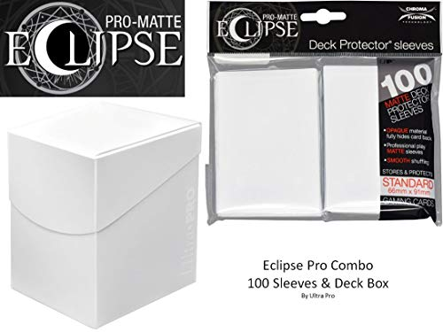 Arctic White Deck Protector & Deck Box Combo (100 Count) for MTG Pro-Matte Eclipse by Ultra Pro