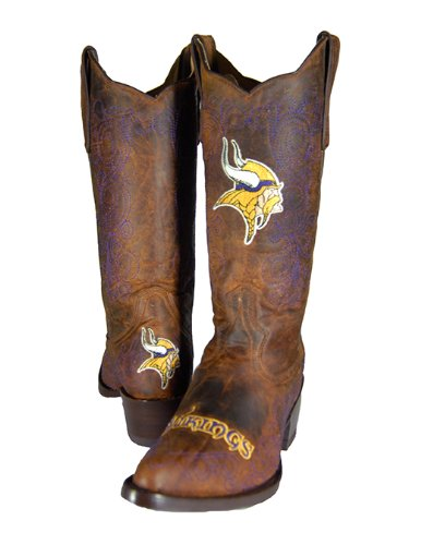 NFL Minnesota Vikings Women's Flyer Pull Up Western Boot, Brown, 6 by Old Pro Leathers