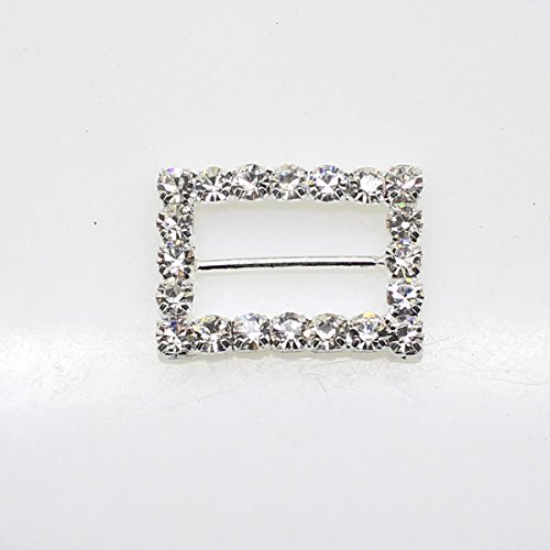 (20pcs 22mm x 28mm Rectangle Shaped Rhinestone Ribbon Buckle Slider for Wedding Invitation Letter Christmas Buckles)