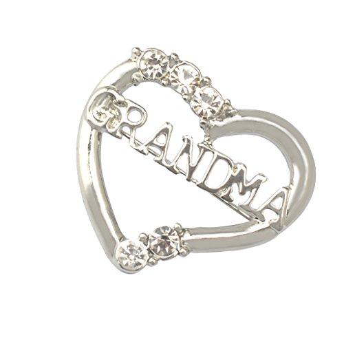 Jili Online Crystal Emerald Rhinestone GRANDMA Love Heart Shaped Brooch Pin Mother's Day
