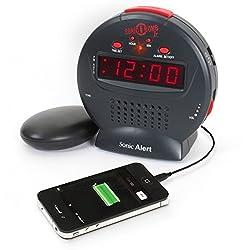 By-Sonic Alert Cool Alarm Clock, Sonic Bomb Jr Digital Home Bedside Small Loud Alarm Clock