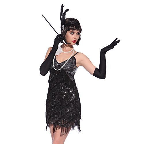 Black Fringe 1920 Flapper Costume (Vintage 1920s Flapper Girl Sequin Fringed Cocktail Party Dress Dance Costume)