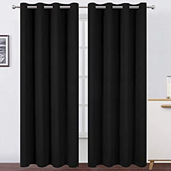 LEMOMO Blackout Curtains 52 x 84 inch/Black Curtains Set of 2 Panels/Thermal Insulated Room Darkening Bedroom Curtains